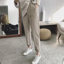 202af新式大码女on显瘦女裤2021新年早春式胖妹妹时尚毛呢裤潮