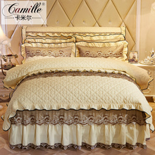 欧式夹af蕾丝床裙四on上用品1.5m1.8米4件套加厚床罩双的被套