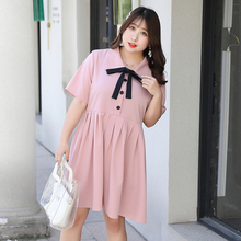。胖女ag2020夏es妹妹MM加肥加大号码女装服饰甜美学院风连衣