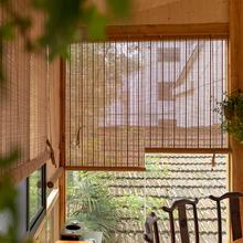竹帘子卷帘隔ah3竹窗帘卷al家用装饰遮阳遮光日款厨房免打孔