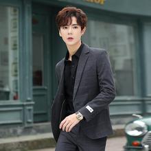 夏季格ah(小)西装男士up套韩款修身潮流帅气上衣单西服薄式套装