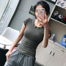 显瘦紧ah纯色运动tup跑步健身房短袖速干透气瑜伽上衣训练衫