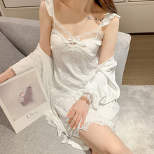 夏季睡ah女唯美韩款pb裙睡袍带胸垫春秋蕾丝性感冰丝薄式套装