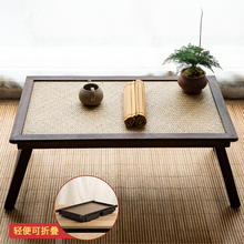 实木竹ah阳台榻榻米ng折叠日式茶桌茶台炕桌飘窗坐地矮桌