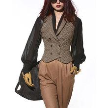 LISai YU复古b6修身西装马甲女装秋冬休闲短式背心外套