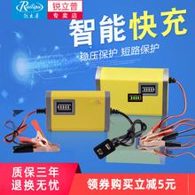 锐立普ai托车电瓶充ke车12v铅酸干水蓄电池智能充电机通用