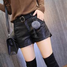 皮裤女ai020冬季cp款高腰显瘦开叉铆钉pu皮裤皮短裤靴裤潮短裤