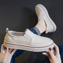 欧洲站ai众女鞋真皮an脚套(小)白鞋女2021春式懒的休闲牛皮板鞋