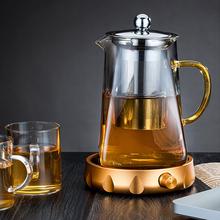 大号玻ai煮套装耐高ik器过滤耐热(小)号功夫茶具家用烧水壶