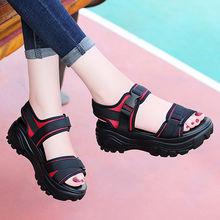 9运动ai鞋2021lk女鞋子夏季妈妈鞋软底舒适坡跟黑色厚底松糕
