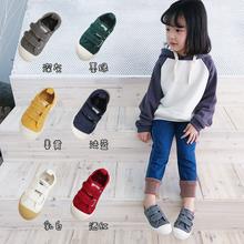 春秋新ai宝宝(小)布鞋ng滑中(小)童西班牙帆布鞋适合幼儿园穿板鞋