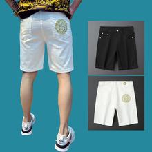 202ai男士新式夏ng白色牛仔短裤弹力刺绣五分裤潮牌男ins中裤