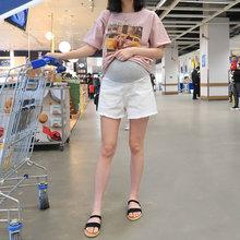 [aisawu]孕妇牛仔短裤白色黑色夏季