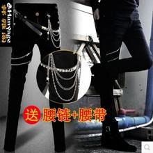 夏季潮ai个性修身牛wu士弹力韩款弹力发型师(小)脚裤