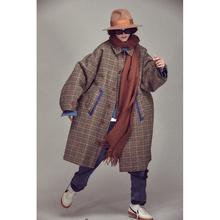 UMAaiIISM wuW 复合面料硬挺双面穿袋布变斜挎包千鸟格大衣