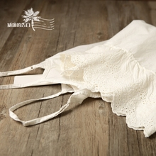 包邮6aj53森林系ir丝边内搭米白色吊带裙刺绣打底裙森女连衣裙