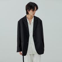 LesakFortede创设计垫肩慵懒黑色西装外套 宽松廓形休闲西装男女