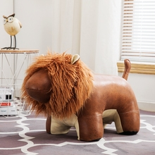 超大摆al创意皮革坐xa凳动物凳子换鞋凳宝宝坐骑巨型狮子门档