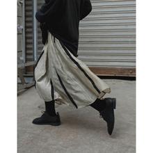银河甜al/2020xa丝垂感做旧A字半身裙暗黑复古条纹中长裙子女