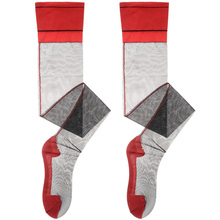欧美复al情趣性感诱xg高筒袜带脚型后跟竖线促销式