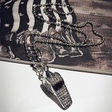 日韩哨子口哨百搭装饰项链高al10长式配tt衣链挂件女装饰品
