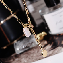 韩款天al淡水珍珠项ttchoker网红锁骨链可调节颈链钛钢首饰品