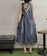 夏式背al连衣裙吊带so长式V领文艺复古大码宽松显瘦牛仔裙