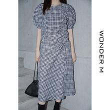 wonaler m女so连衣裙夏韩款泡泡袖收腰设计感显瘦chic法式裙子