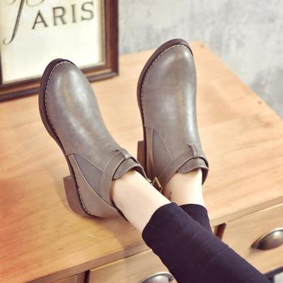 平底学al风薄式圆头ns质短筒靴女式马丁靴女短靴子靴裸靴