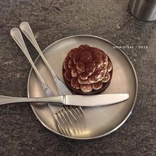 othalrbreaha国ins金属盘不锈钢圆形咖啡厅托盘甜品早餐简约碟子