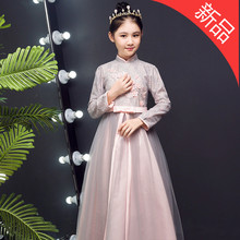 中国风al童5旗袍礼ha秋季七女孩十中大童12长裙14岁