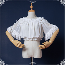 咿哟咪al创loliin搭短袖可爱蝴蝶结蕾丝一字领洛丽塔内搭雪纺衫