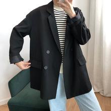 (小)西装al套女韩款黑ar2021春秋新式宽松英伦休闲女士西服上衣
