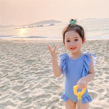 2020insam4童宝宝可es(小)天使翅膀泳衣连体裙式防紫外线保暖