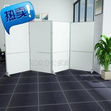 办公室am动折叠屏风es间工厂装修隔断墙隔离板展板玻璃高F隔