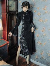 现货中am风复古旗袍es良款连衣裙气质优雅黑色金丝绒性感长裙