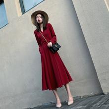 法式(小)am雪纺长裙春gi21新式红色V领长袖连衣裙收腰显瘦气质裙