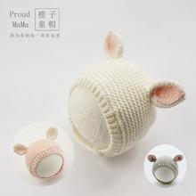 2021新式男女宝宝婴幼am9网红帽子nd毛线护耳兔子可爱超萌棉