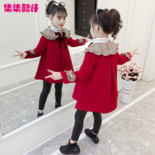 女童呢am大衣秋冬2zi新式韩款洋气宝宝装加厚大童中长式毛呢外套