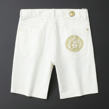 202am男士新式夏zo白色牛仔短裤弹力刺绣五分裤潮牌男ins中裤