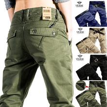 弹力纯棉男士军绿色休闲裤美am10修身直er男裤春季长裤子