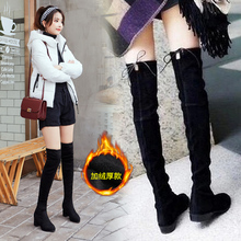 秋冬季am美显瘦女过in绒面单靴长筒弹力靴子粗跟高筒女鞋