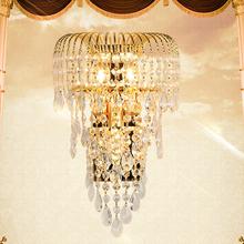 奢华kam水晶壁灯 ri金色客厅卧室轻奢 欧式电视墙壁灯