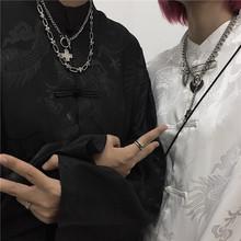 INSsamudioscuss韩国ins复古(小)众设计感中款盘扣长袖衬衫男女款潮