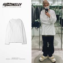 纯色长袖t恤男女式韩款薄式黑白am12白色纯ma情侣短t打底衫
