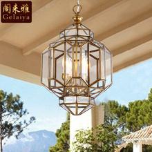 美式阳am灯户外防水ns厅灯 欧式走廊楼梯长吊灯 复古全铜灯具