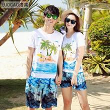 情侣装am装2020te亚旅游度假海边男女短袖t恤短裤沙滩装套装