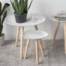 北欧(小)am几现代简约te几创意迷你桌子飘窗桌ins风实木腿圆桌