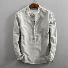 简约新am男士休闲亚te衬衫开始纯色立领套头复古棉麻料衬衣男