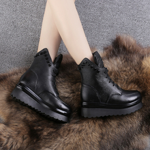 棉鞋女an糕跟真皮马be绒女棉皮鞋厚底系带英伦骑士靴保暖女鞋